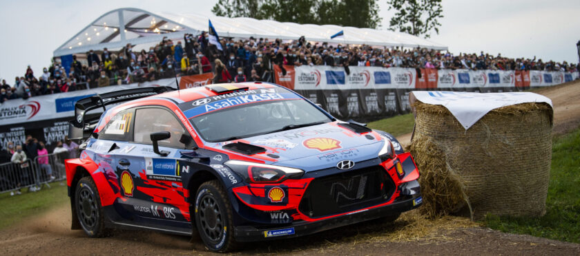 Thierry Neuville (BEL) Nicolas Gilsoul (BEL) of team Hyundai i20 Coupe WRC Hyundai Shell Mobis WRT is seen racing during special stage 1 - Tartu at the World Rally Championship Estonia in Tartu, Estonia on September 4, 2020